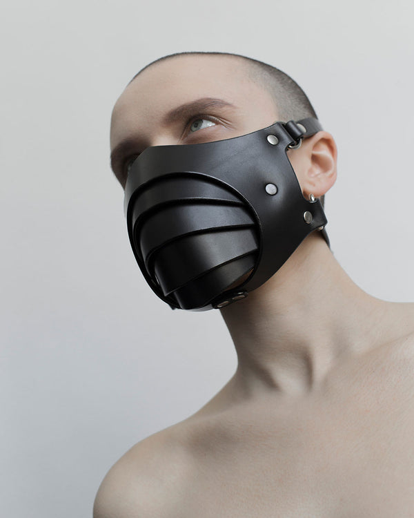 anoeses black leather fetish mask segmented