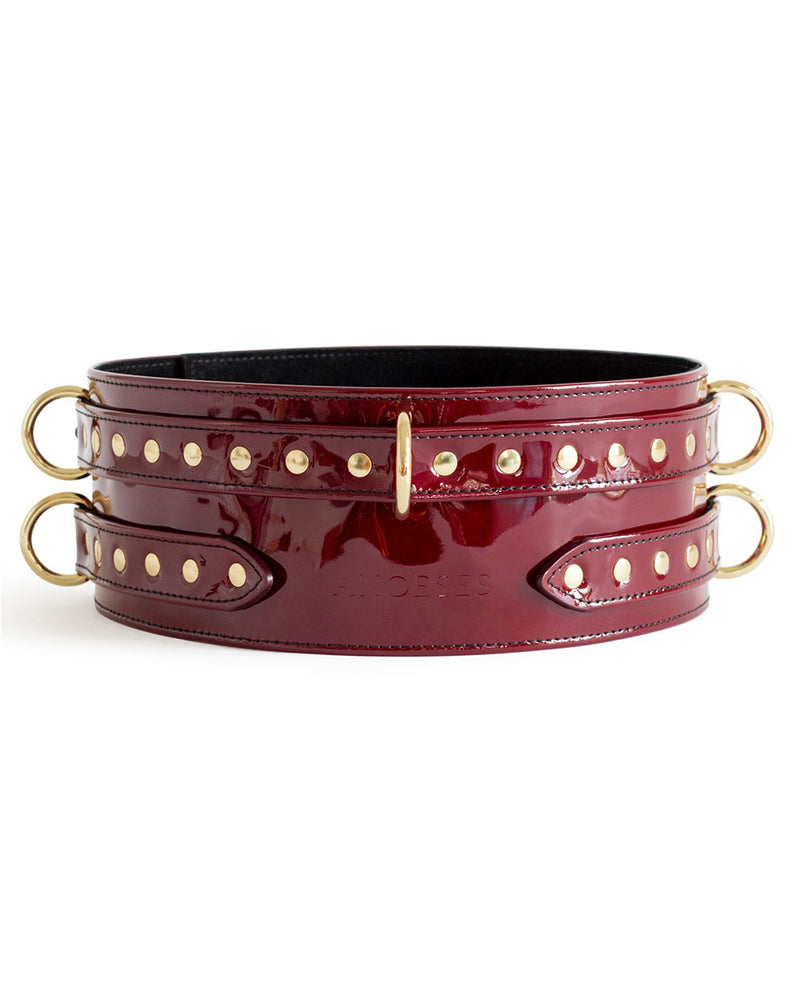"Set with Garters ""Aura"" Burgundy Patent"