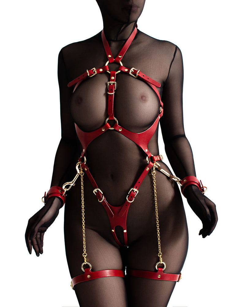 anoeses bdsm leather harness ORA Red with handcuffs and carabiners