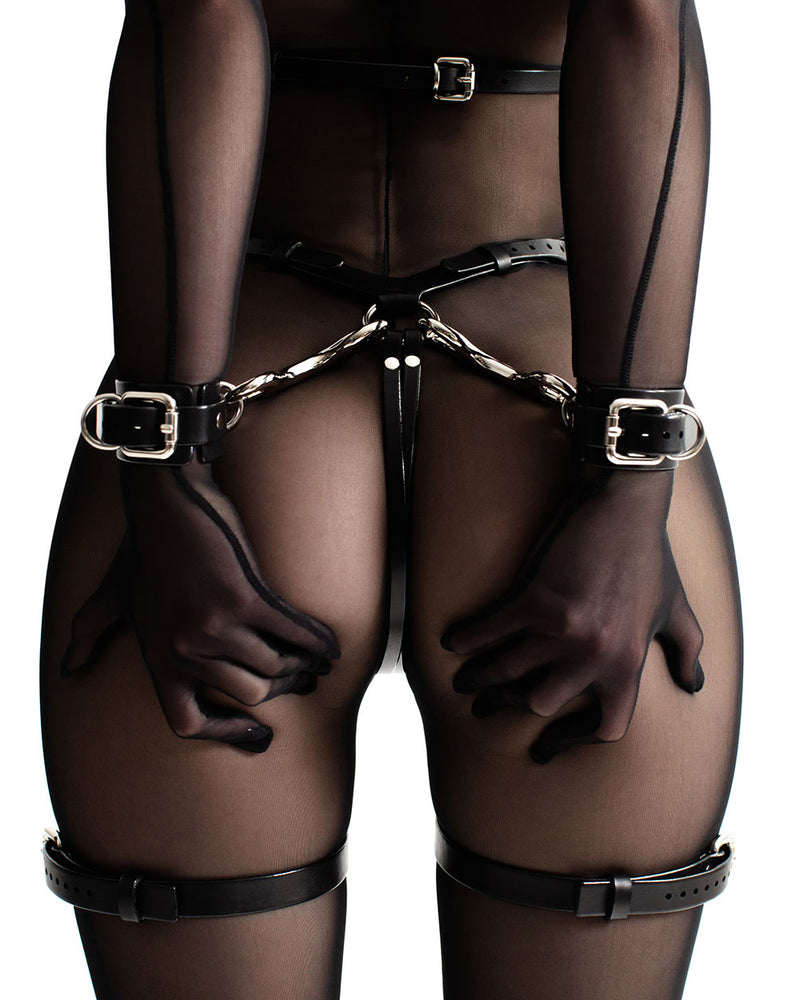anoeses bdsm leather harness ORA with handcuffs