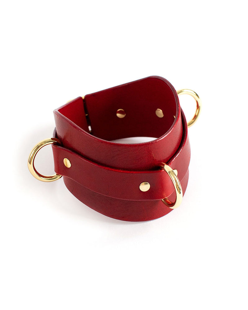 anoeses bdsm leather collar red