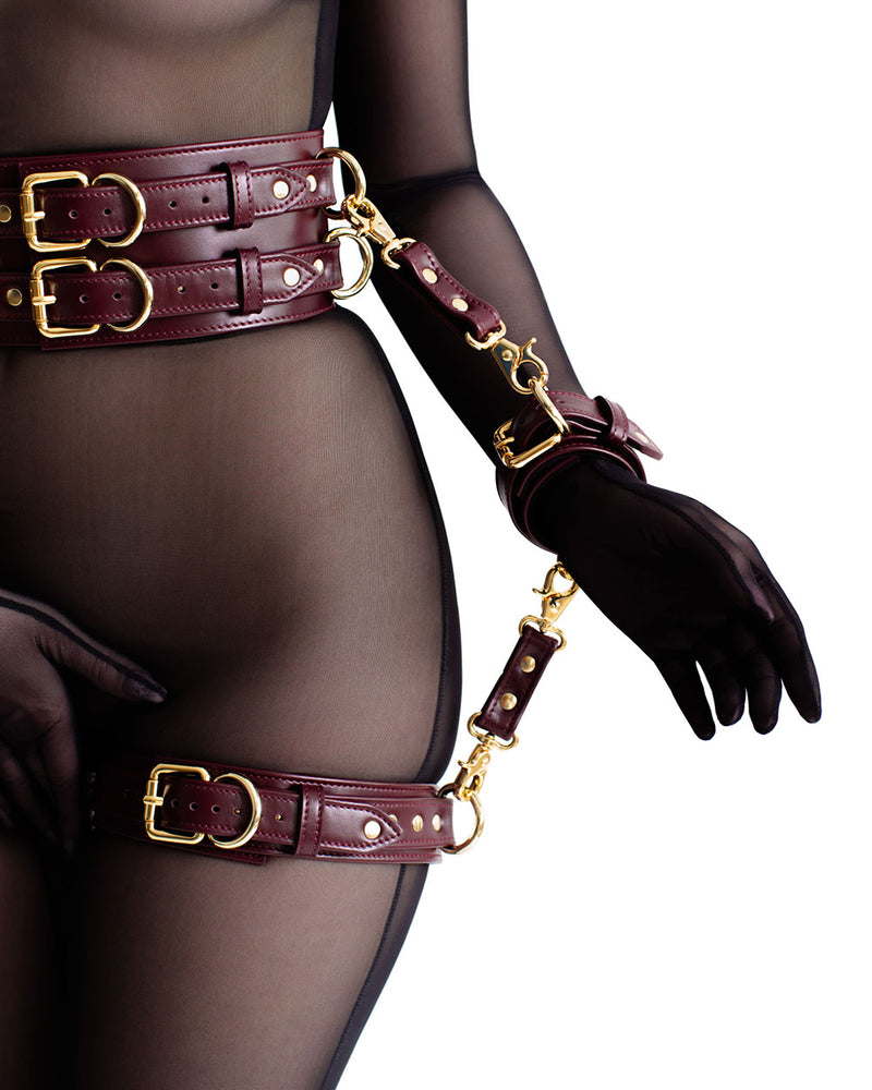 "Set with Garters ""Aura"" Burgundy"
