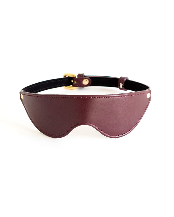 blindfold mask burgundy leather by anoeses