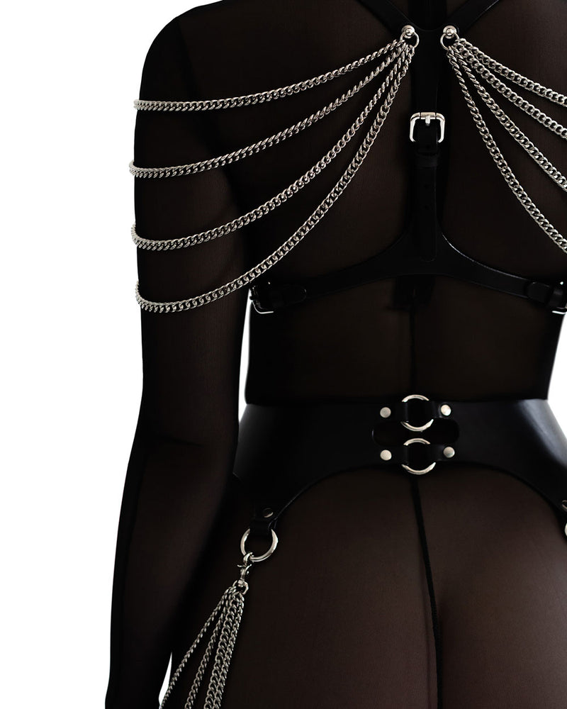 anoeses bra leather harness with chains