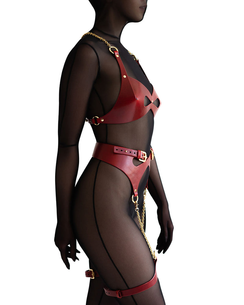 anoeses leather BDSM harness RAVE in red color