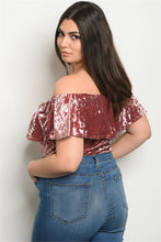 Load image into Gallery viewer, Crushed Velvet Off The Shoulder Ruffle Body Suit