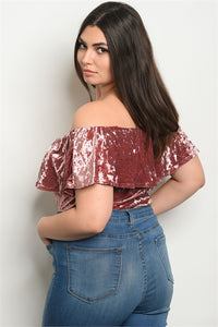 Crushed Velvet Off The Shoulder Ruffle Body Suit