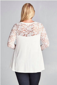 Lace Sleeve Tunic Top