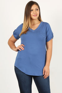 Roll Sleeve V-Neck Top