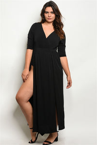 V-Neck Side Slit Maxi Dress