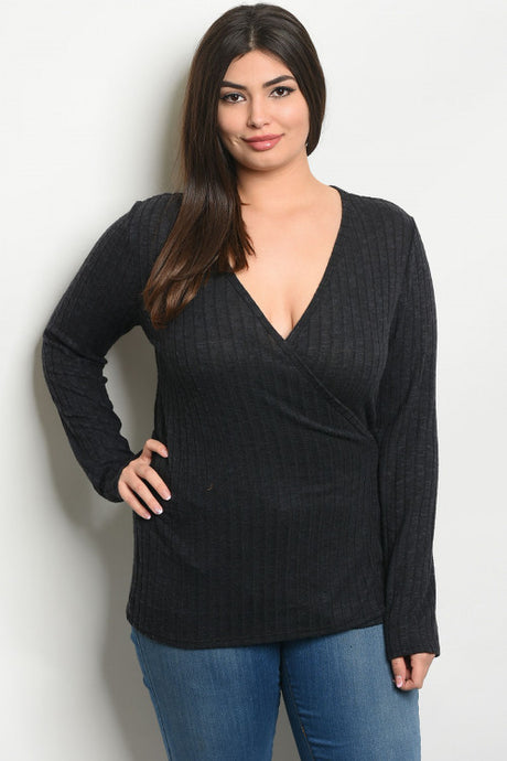 Long Sleeve V-Neck Wrap Top