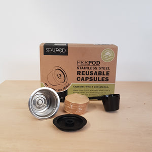 Feepod Reuseable Coffee Pod pack with 1 Stainless Steel Reusable Capsule 1 Silicone Cover 1 Scoop 100 Paper Filters