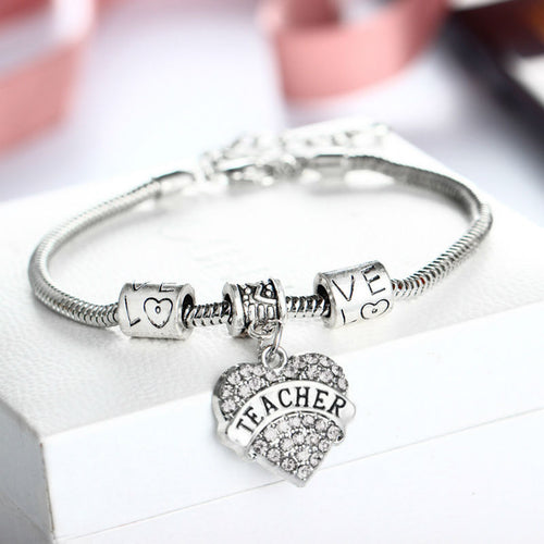 Teacher Appreciation Silver Bracelet and Crystal Charm - GS Specialty Gifts & Apparel