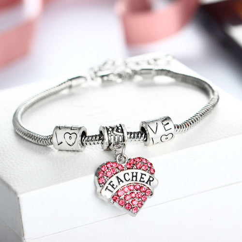 Teacher Appreciation Silver Bracelet and Pink Crystal Charm - GS Specialty Gifts & Apparel