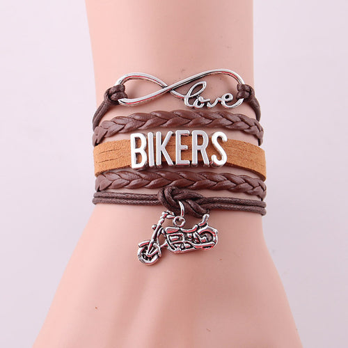 Women's Leather Infinity Bikers Bracelet and charm - GS Specialty Gifts & Apparel