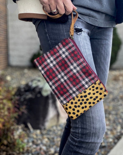 Plaid & Leopard Clutch