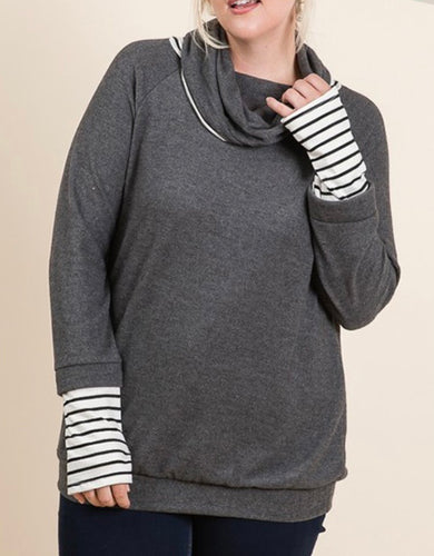 Charcoal Cowl Neck