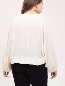 Ivory Long Balloon Sleeve