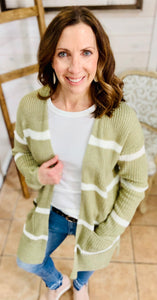 Striped Open Cardigan w/pockets