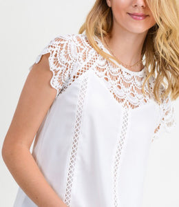 Lace Detail Top - Ivory