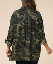 Load image into Gallery viewer, Army Green Camo Button Down