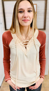 V-Neck Crisscross Top - Brick