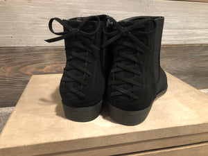 Black Boot w/Lace Up Back