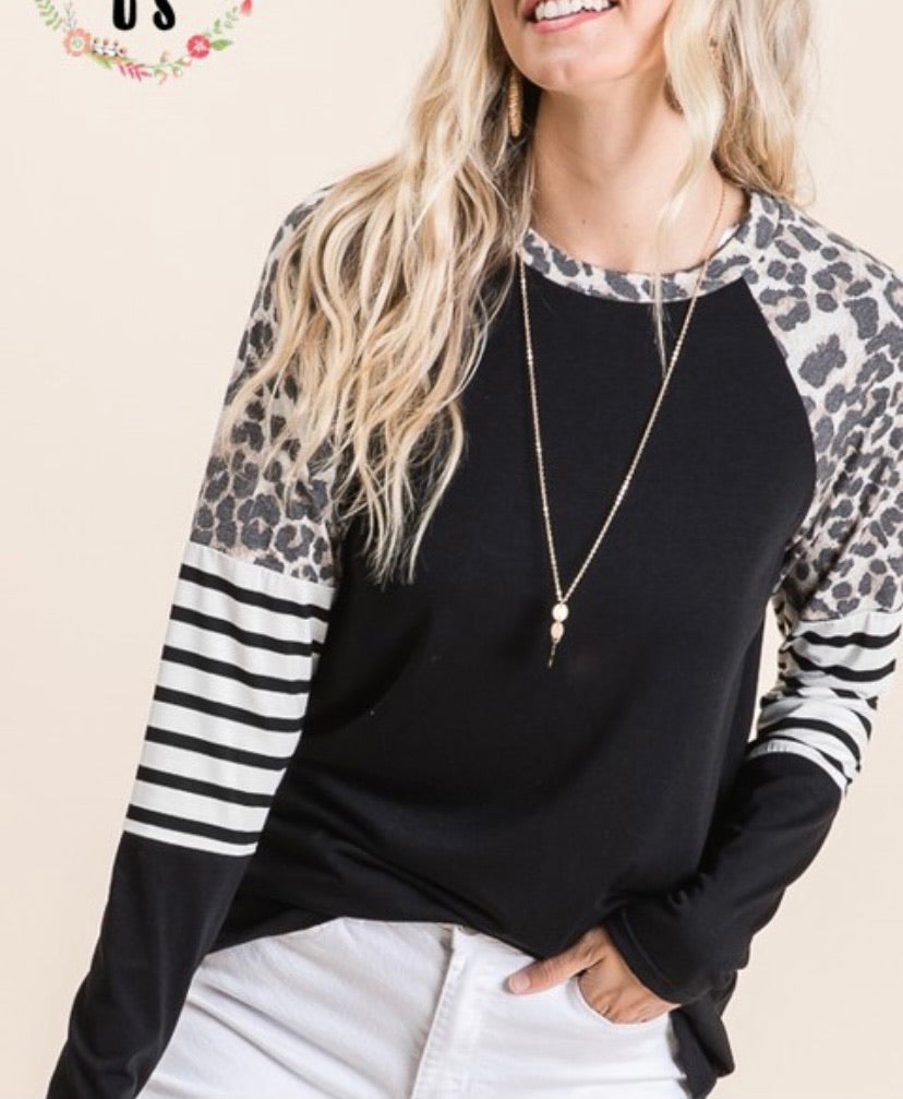 Black Knit Leopard Raglan