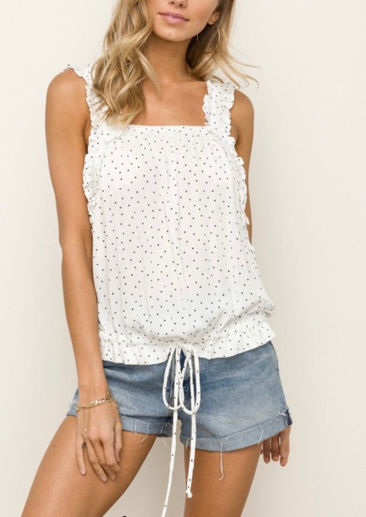 Black Dot Cinched Top