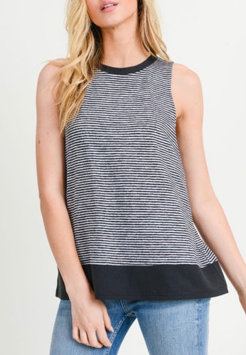Black & White Striped Sleeveless