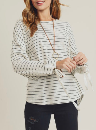 Ivory Sweater w/Blacks Stripes Tie Sleeves