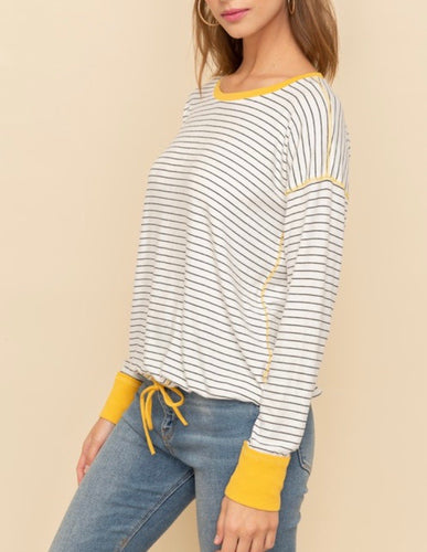 Striped Pullover w/Mustard Trim, Large