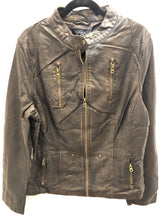 Load image into Gallery viewer, Brown Faux Leather Jacket
