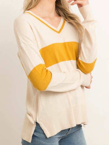 V-Neck Mustard Color Block