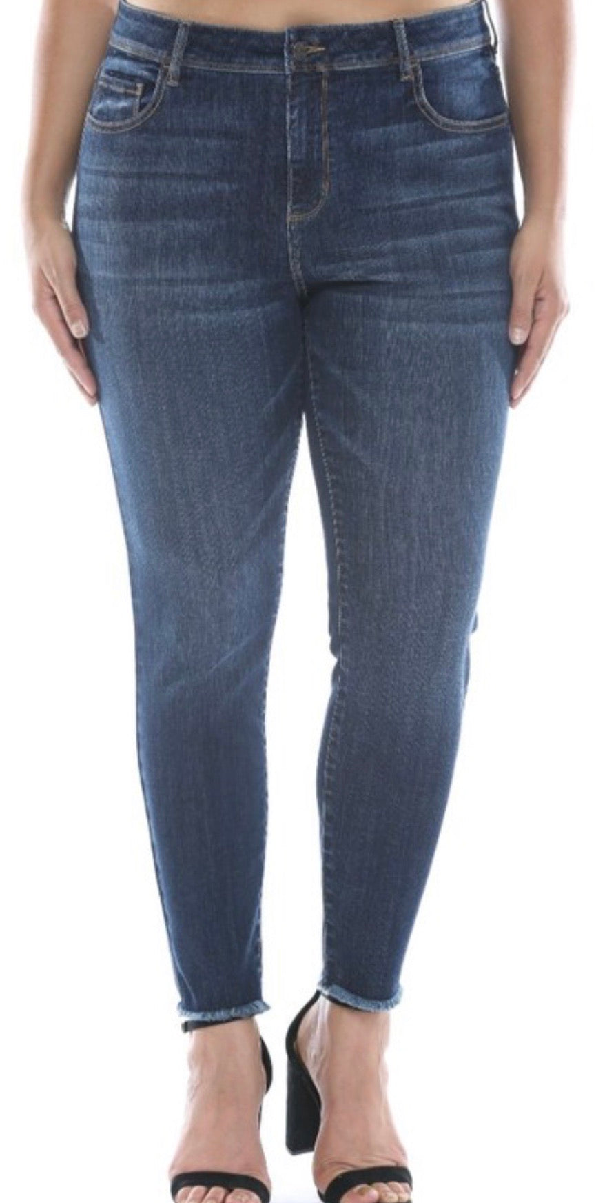 Jeans - Cello Dark Wash Frayed Hem