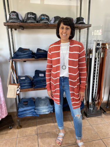Burnt Orange & Ivory Striped Cardigan