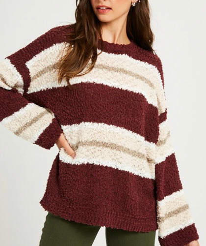 Maroon & Pink Striped Sweater
