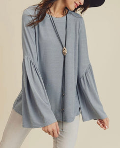 Denim Grey Slant Sleeve