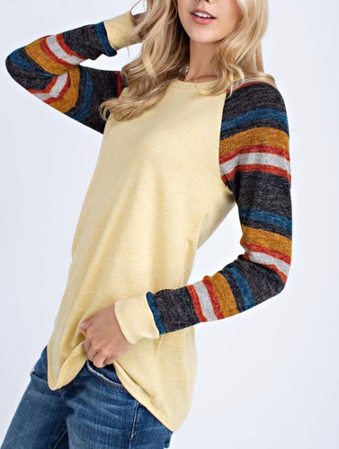 Mustard Shirt w/Striped Sleeves