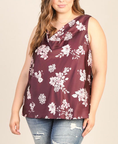 Burgundy Floral Sleeveless