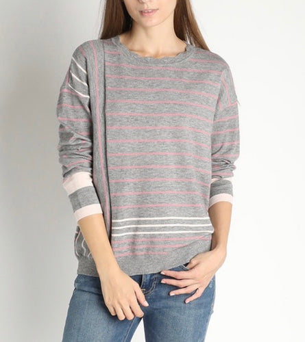 Heather Grey Crewneck w/Pink Stripes