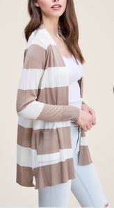 Ivory & Taupe Striped Cardigan