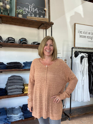 V-neck Tunic Sweater - Apricot