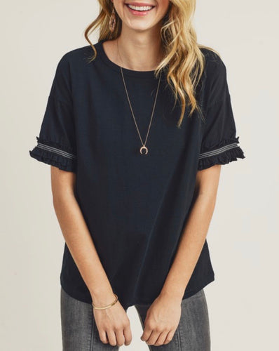 Black Frill Sleeve Shirt