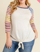 Load image into Gallery viewer, Oatmeal Raglan w/Striped Sleeves