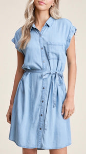 Denim Shirt Dress - Light Wash