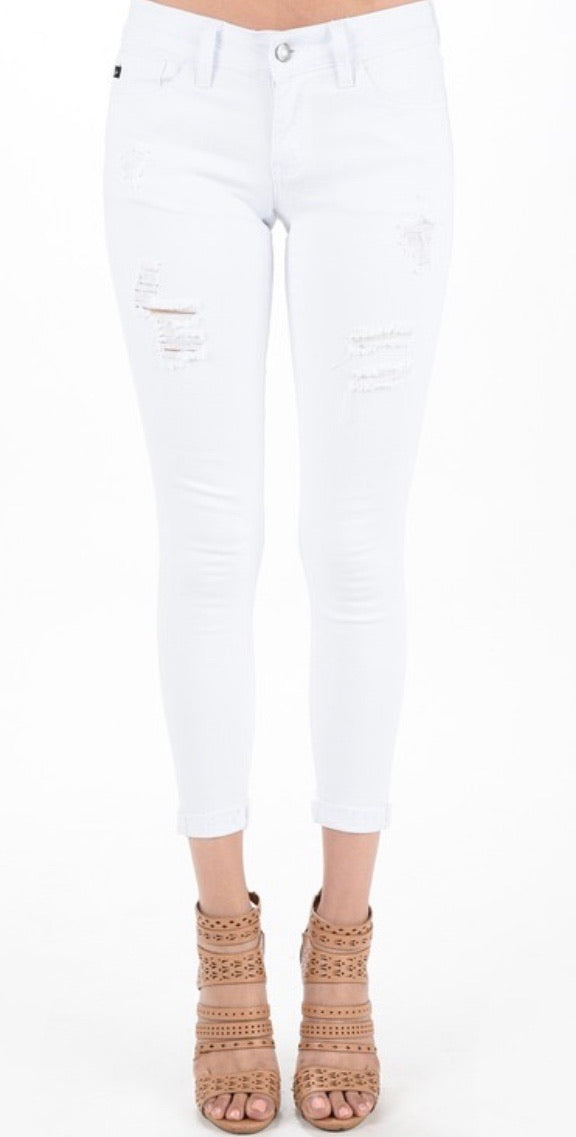 KanCan White Distressed Ankle Jeans