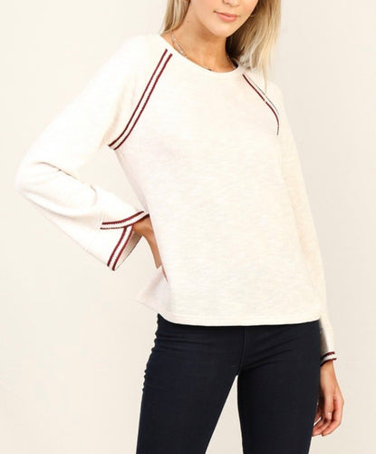 Ivory Knit w/Burgundy Trim
