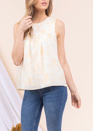 Yellow & White Sleeveless Top