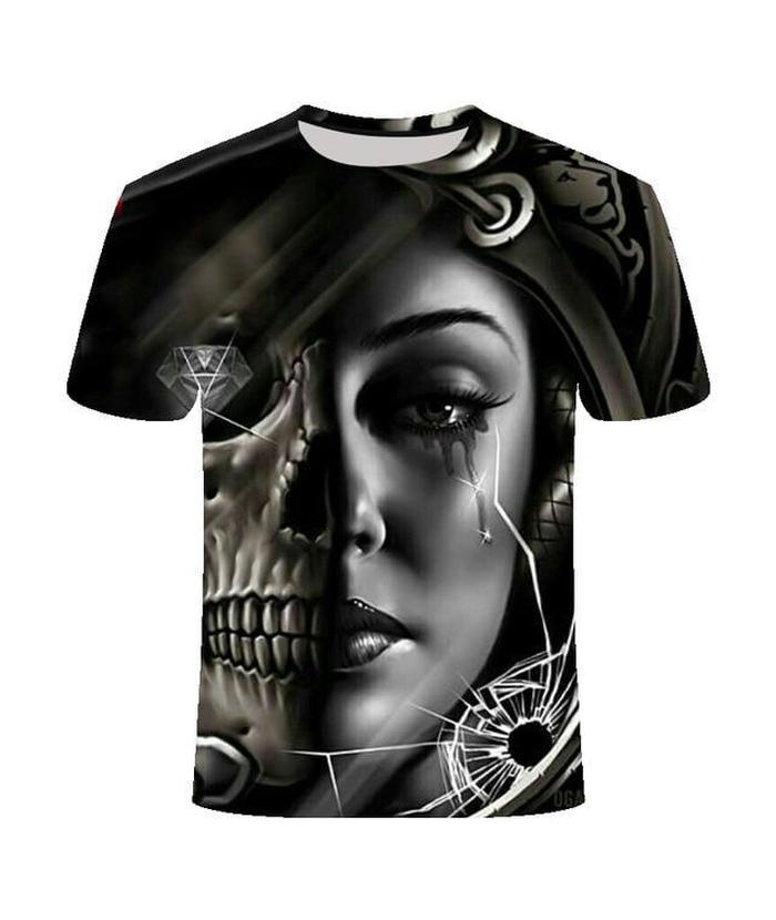 T-Shirt Tête de Mort <br> Double Face Diamant